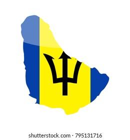 Barbados Flag Country Contour Vector Icon - Illustration