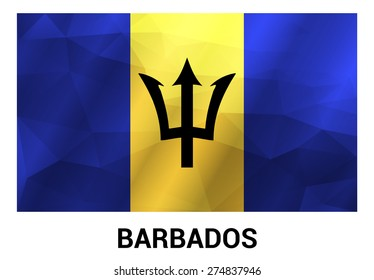 Barbados Flag, geometric polygonal shapes. Vector illustration.