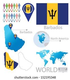 Barbados. flag. North america. World Map. vector Illustration.