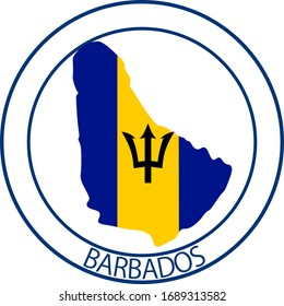 Barbados flag on map of country; isolated on white background. Vector logo sticker button