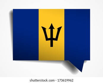 Barbados flag paper 3d realistic speech bubble on white background