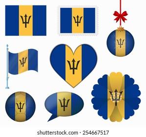 Barbados flag set of 8 items vector