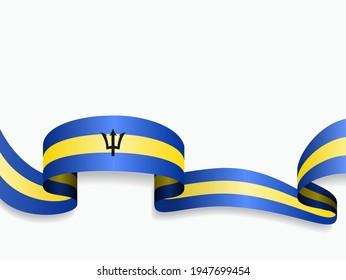 Barbados Fahne wellig abstrakter Hintergrund. Vektorgrafik.