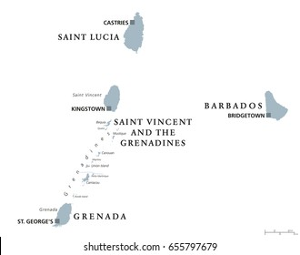 Barbados, Grenada, Saint Lucia, Saint Vincent and the Grenadines political map. Caribbean islands, part of Lesser Antilles and Windward Islands. Gray illustration over white. English labeling. Vector.