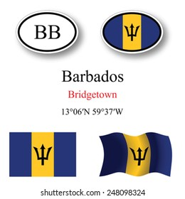 barbados icons set against white background, abstract vector art illustration, image contains transparency