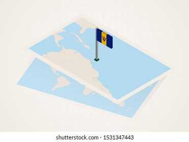 Barbados selected on map with isometric flag of Barbados. Vector paper map.
