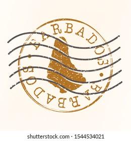 Barbados Stamp Postal. Map Silhouette Seal. Passport Round Design. Vector Icon. Design Retro Travel.