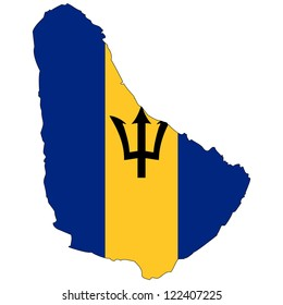 Barbados vector map with the flag inside.