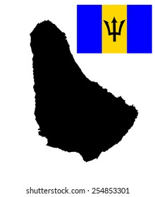 Barbados vector map isolated on white background. High detailed silhouette illustration. Barbados original and flag isolated vector in official colors and Proportion Correctly. Caribbean country.