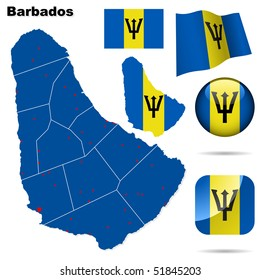 Barbados vector set. Detailed country shape with region borders, flags and icons isolated on white background.