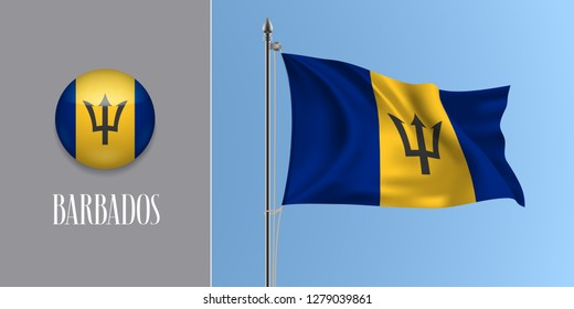 Barbados waving flag on flagpole and round icon vector illustration. Realistic 3d mockup of blue yellow Barbadian flag and circle button
