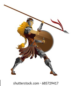 barbarian nordic valkyrie blonde woman with spear and axe