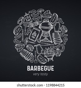 Barbecu retro vector illustration. BBQ banner, hand drawn meat, chicken, fish, sausage and tools. Vector engraving illustration. Chalkboard style.