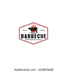 Barbecue bbq grill restaurant food drink logo design - barbeque fire meat sausage spatula element
