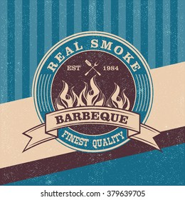 Barbecue BBQ logo, stamp, retro poster, food menu design