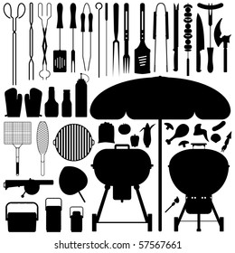 Barbecue BBQ Silhouette Set Vector