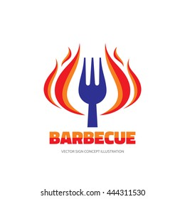 Barbecue BBQ - vector logo concept illustration in flat style. Red fire flame and fork sign. Hot grill symbol. Design element.