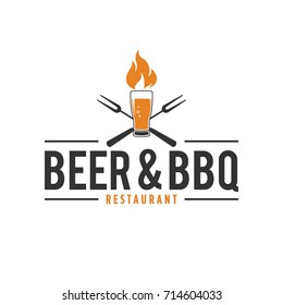 Barbecue And Beer Logo With Fire Glass of Beer