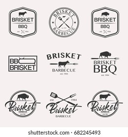 Barbecue brisket lettering logo set BBQ isolated on white background