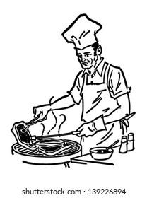 Barbecue Chef - Retro Clip Art Illustration
