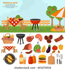 Barbecue color icons set for web and mobile design. Outdoor bbq time illustration