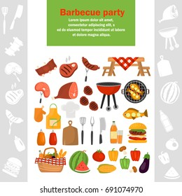 Barbecue color icons set for web and mobile design