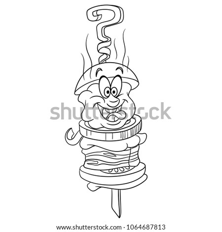 Barbecue Coloring Page Hot Meat Dishes Stock Vector Royalty Free