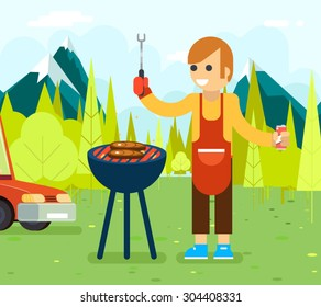 Barbecue cook background nature forest mountain vacation car vector illustration