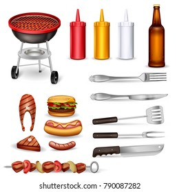 Barbecue decorative icons set with grilled meat kitchen utensil ketchup collection and beer bottle isolated vector illustration