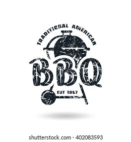 Barbecue emblem with shabby texture. Black print on white background
