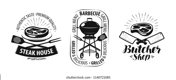 Barbecue, grill, butcher shop logo or label. Food concept vector