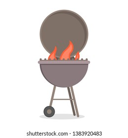 Barbecue grill for cooking delicious meat. BBQ party with hot tasty food. Beef or pork. Isolated flat vector illustration
