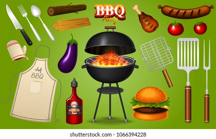 Barbecue grill elements set isolated on red background. BBQ party. Summer time. Meat restaurant at home. Charcoal kettle with tools, sauce and foods. Kitchen equipment for menu. Cooking outdoors.