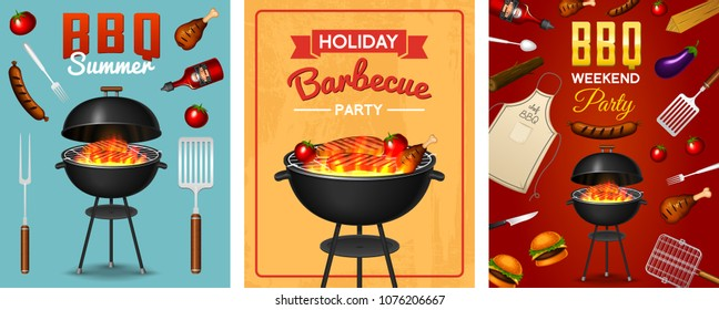 Barbecue grill elements set isolated on red background. BBQ party poster. Summer time. Meat restaurant at home. Charcoal kettle with tool, sauce and foods. Kitchen equipment for menu. Cooking outdoors