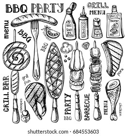 Barbecue and grill food set .Vector hand drawn elements ,lettering .BBQ menu, restaurant design. Kebab sketch of summer party .Isolated on white background.