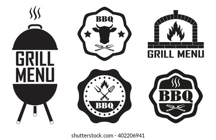 Barbecue and grill labels set. BBQ emblems and badges collection. Restaurant menu design elements. Vector illustration.