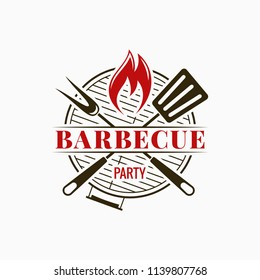 Barbecue grill logo. Bbq party with fire flame on white background