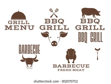 Barbecue grill. Logo. BBQ. Vector illustration