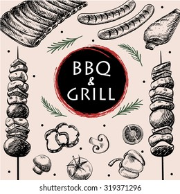 barbecue grill meat food and drink menu restaurant  have  barbecue sausage rib grilled and vegetable drawing design template web,vector illustration