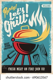 Barbecue grill party poster template. Retro poster design with grill appliance and grilled meat food on fire. Fast food advertisement.
