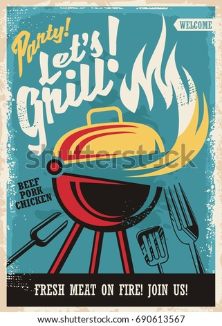 Barbecue grill party poster template retro stock vector royalty barbecue grill party poster template retro poster design with grill appliance and grilled meat food maxwellsz