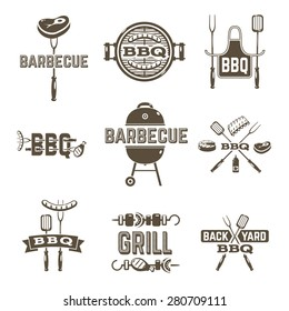 Barbecue and grill premium quality labels set isolated vector illustration