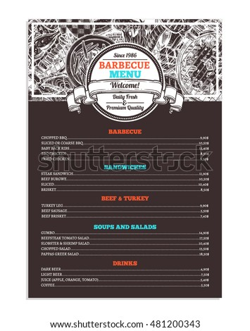 barbecue grill restaurant menu template design stock vector royalty