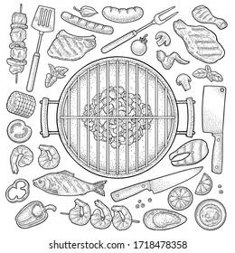 Barbecue grill set with kebab, sausage, chicken leg, steak, fish, oyster, shrimp, lemon. Vintage black vector engraving illustration isolated on white background. Hand drawn design element