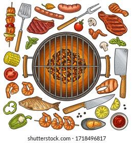 Barbecue grill set with kebab, sausage, chicken leg, steak, fish, oyster, shrimp, lemon. Vintage color vector engraving illustration isolated on white background. Hand drawn design element