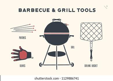 Barbecue, grill set. Poster bbq diagram and scheme - barbecue grill tools. Set of bbq stuff, Webber Grill, tools for steak house, restaurant, kitchen poster. Hand drawn. Vector illustration