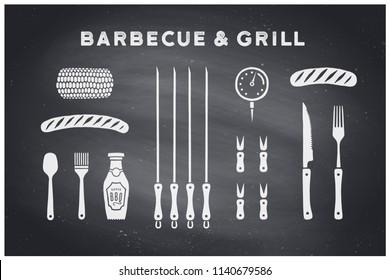 Barbecue, grill set. Poster bbq diagram and scheme - barbecue grill tools. Set of bbq stuff, tools for steak house, restaurant, kitchen poster. Black chalkboard, hand drawn, chalk. Vector illustration