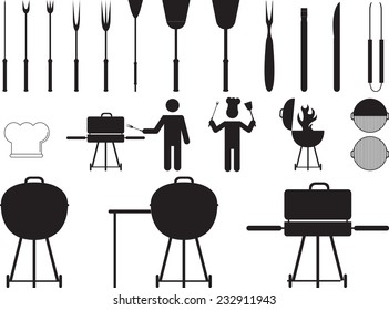 Barbecue grill and tools with pictogram people illustrated on white