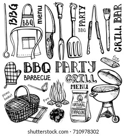 Barbecue grill tools set .Vector hand drawn elements ,lettering. BBQ menu, restaurant design. Black sketch of summer party .Isolated equipment on white background.