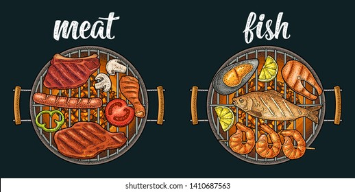 Barbecue grill top view with charcoal, tomato, pepper, onion, kebab, sausage, chicken, charcoal, oyster, shrimp, lemon, beef and fish steak. Vintage color vector engraving isolated on dark background